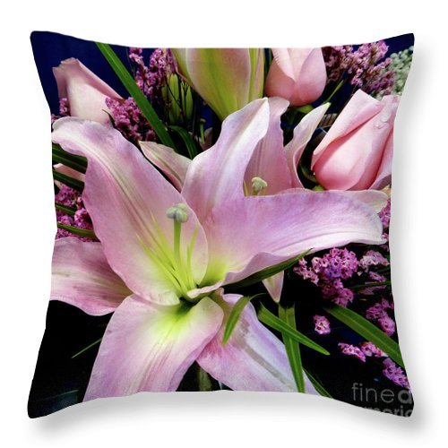 Pink Tiger Lily Throw Pillow featuring the photograph Pink Tiger Lily by To-Tam Gerwe