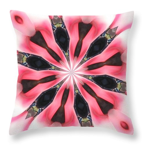 Throw Pillow featuring the digital art Pink White Petals by Jeffrey Todd Moore