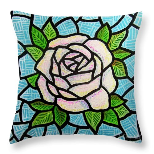 Rose Throw Pillow featuring the painting Pinkish Rose by Jim Harris