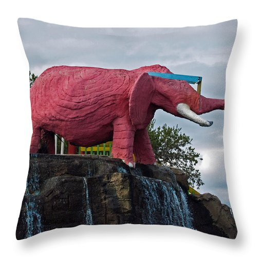 Florida; Kitsch; Roadside; Road; Side; Astronaut; Cape; Canaveral; Pinky; Elephant; Statue; Monument Throw Pillow featuring the photograph Pinky The Elephant At Cape Canaveral by Allan Hughes