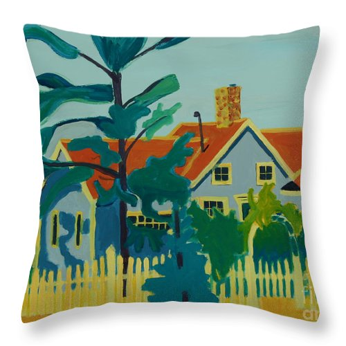 Beach Throw Pillow featuring the painting Pinkys House On Pemaquid Point by Debra Bretton Robinson