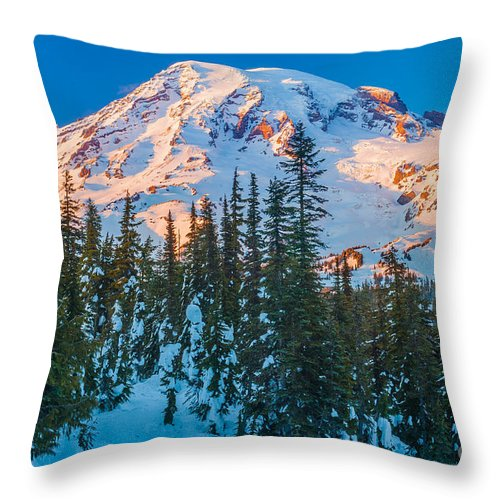America Throw Pillow featuring the photograph Pinnacle Saddle Winter by Inge Johnsson