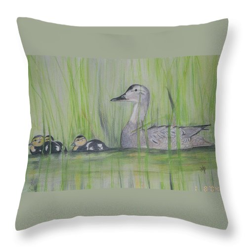Pintail Ducks Throw Pillow featuring the painting Pintails In The Reeds by Debra Sandstrom