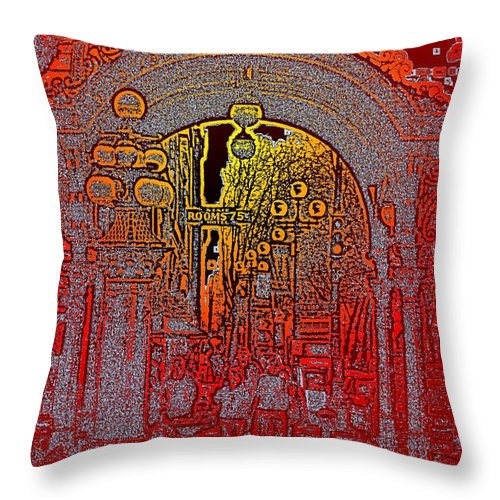 Seattle Throw Pillow featuring the photograph Pioneer Square Pergola 2 by Tim Allen