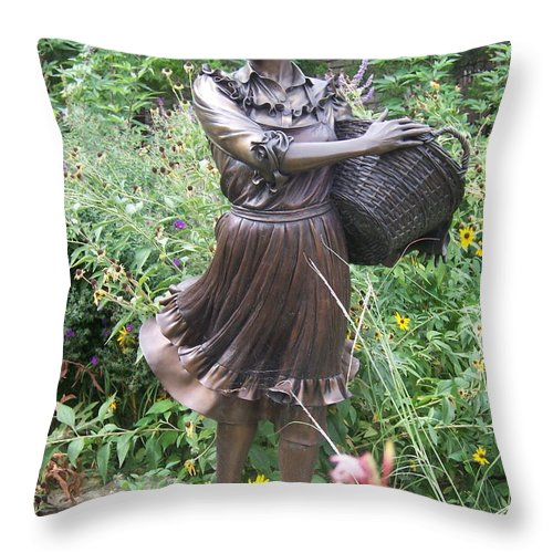 Statue Throw Pillow featuring the photograph Pioneer Woman In Color by Emily Young