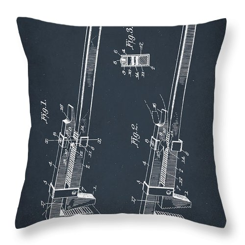 Patent Throw Pillow featuring the mixed media Pipe Wrench Patent Drawing 2d by Brian Reaves