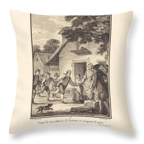 Throw Pillow featuring the drawing Piqu? De Ma Raillerie, Il S'?vertue Et Remporte Le Prix by Nicolas Delaunay After Jean-michel Moreau