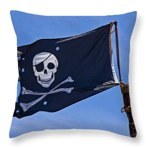 Pirate Flag Skull Cross Bones Throw Pillow featuring the photograph Pirate Flag Skull And Cross Bones by Garry Gay