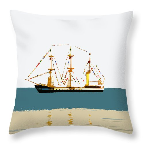 Pirate Ship Throw Pillow featuring the painting Pirate Ship On The Horizon by David Lee Thompson