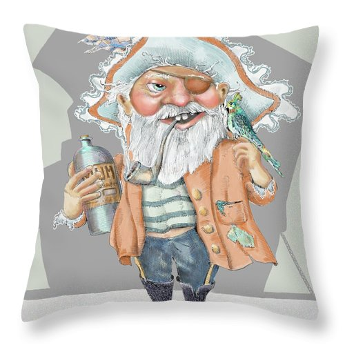 Pirate Throw Pillow featuring the digital art Pirate With Rum by Shane Guinn