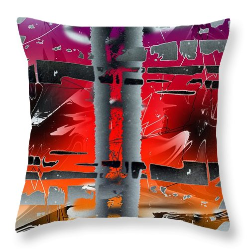 Abstract Throw Pillow featuring the painting Pire Of Power by Ted Shado