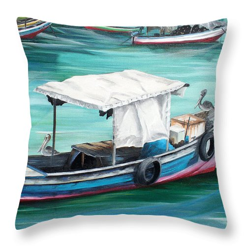 Fishing Boat Painting Seascape Ocean Painting Pelican Painting Boat Painting Caribbean Painting Pirogue Oil Fishing Boat Trinidad And Tobago Throw Pillow featuring the painting Pirogue Fishing Boat by Karin Dawn Kelshall- Best