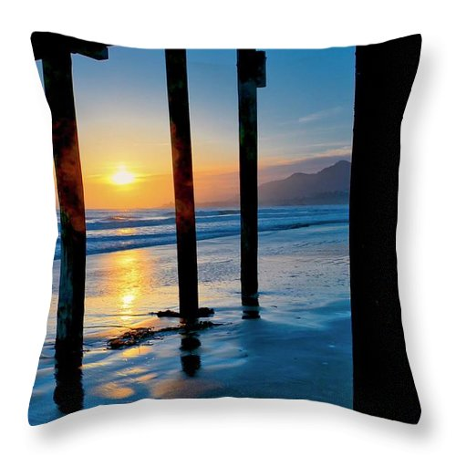 California Throw Pillow featuring the photograph Pismo Beach Pier Sunset by Zayne Diamond Photographic
