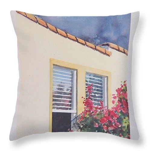 Cottage Throw Pillow featuring the painting Pismo Cottage by Philip Fleischer