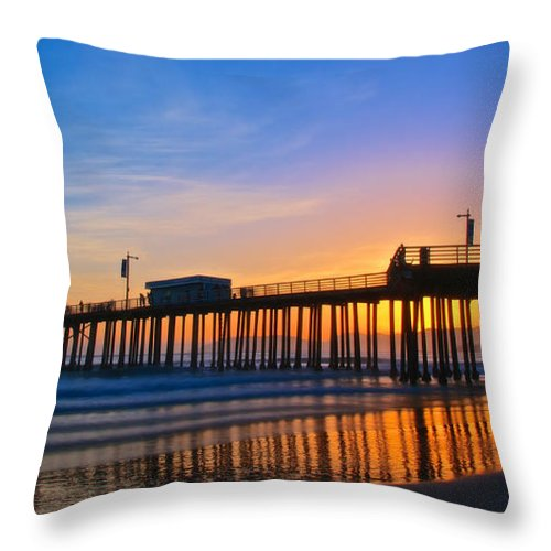 Nature Throw Pillow featuring the photograph Pismo Beach and Pier Sunset by Zayne Diamond Photographic