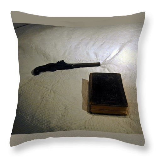 Pistol Throw Pillow featuring the photograph Pistol And Bible by Douglas Barnett