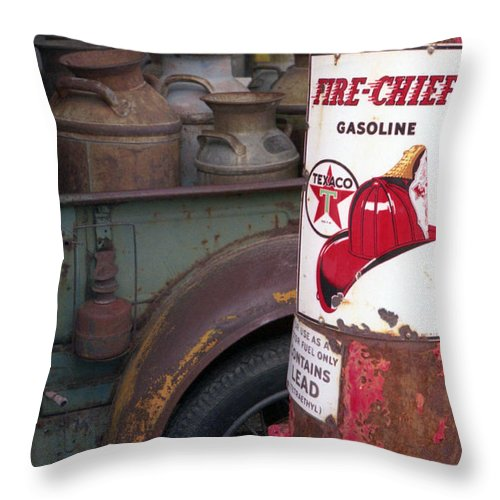 Old Milk Jugs Throw Pillow featuring the photograph Pit Stop by Richard Rizzo