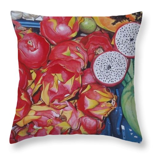 Hyperrealism Throw Pillow featuring the painting Pitahaya by Michael Earney