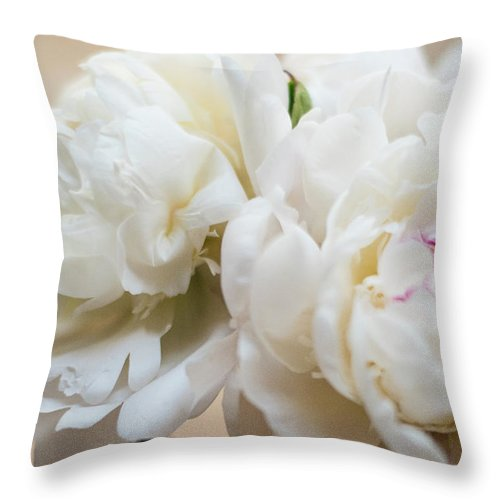 Peonies Throw Pillow featuring the photograph Pitcher Of Peonies by Jessica Ruscello