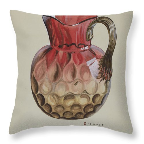 Throw Pillow featuring the drawing Pitcher by Robert Stewart