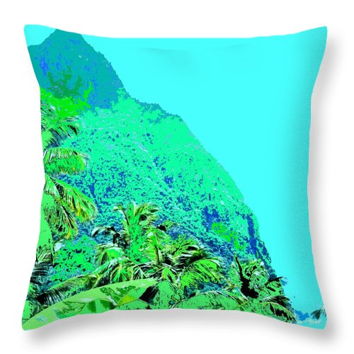 Pitons Throw Pillow featuring the photograph Pitons by Ian MacDonald