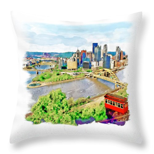 Pittsburgh Throw Pillow featuring the painting Pittsburgh Aerial View by Marian Voicu