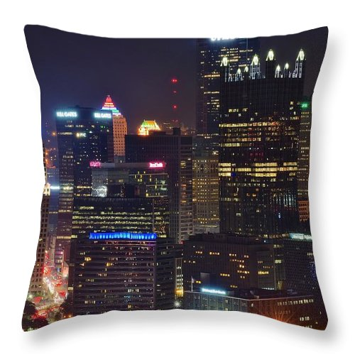 Pittsburgh Throw Pillow featuring the photograph Pittsburgh Close Up From Above by Frozen in Time Fine Art Photography