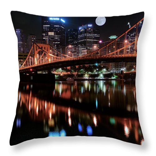 Pittsburgh Throw Pillow featuring the photograph Pittsburgh Full Moon by Frozen in Time Fine Art Photography