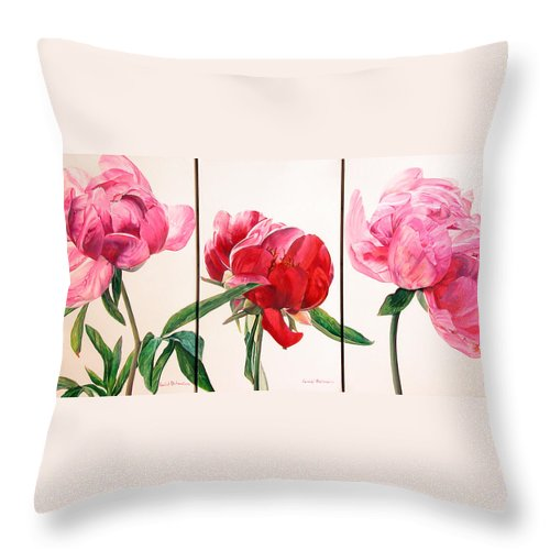 Floral Painting Throw Pillow featuring the painting Pivoines by Muriel Dolemieux