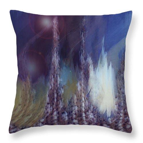 Abstract Throw Pillow featuring the digital art Pixel Dream by Linda Sannuti