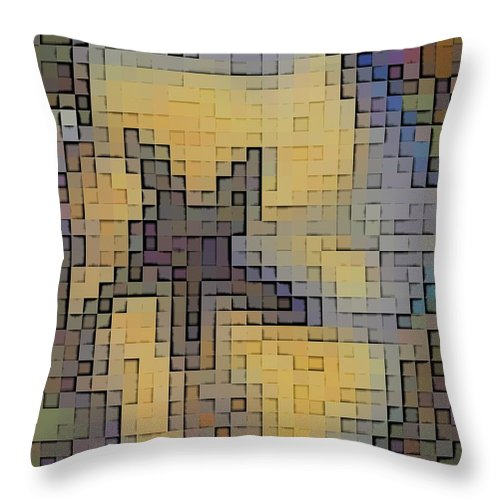 Abstract Throw Pillow featuring the digital art Pixel Pansy by Tim Allen