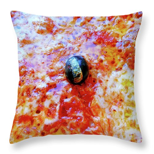 Seafood Throw Pillow featuring the photograph Pizza Pie With Olive by Evan Peller