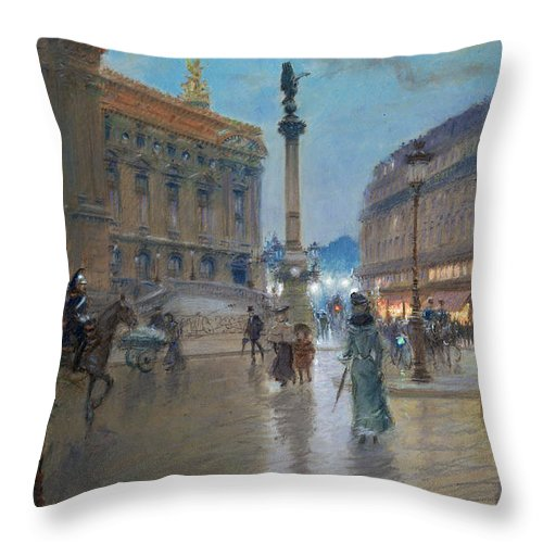 Place De L'opera Throw Pillow featuring the painting Place De L Opera In Paris by Georges Stein