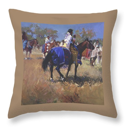 Horses Throw Pillow featuring the digital art Place Of The Sun L. E. P. by Betty Jean Billups