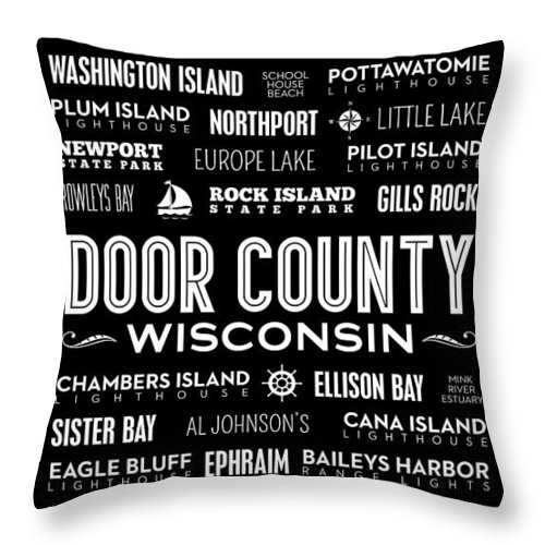 Door County Throw Pillow featuring the digital art Places Of Door County On Black by Christopher Arndt