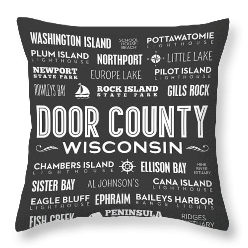 Door County Throw Pillow featuring the photograph Places Of Door County On Gray by Christopher Arndt