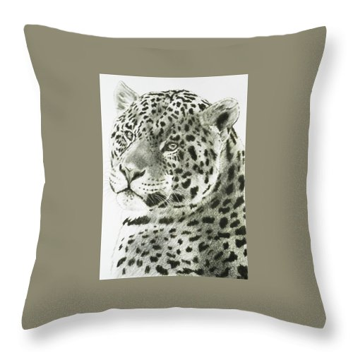 Jaguar Throw Pillow featuring the drawing Placid by Barbara Keith