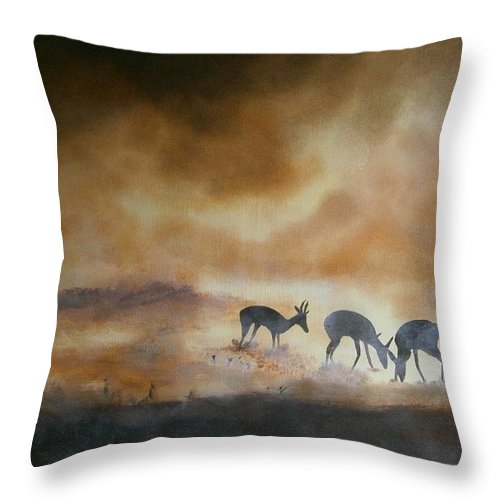 Antelopes Throw Pillow featuring the painting Plain Dusty by Andy Davis