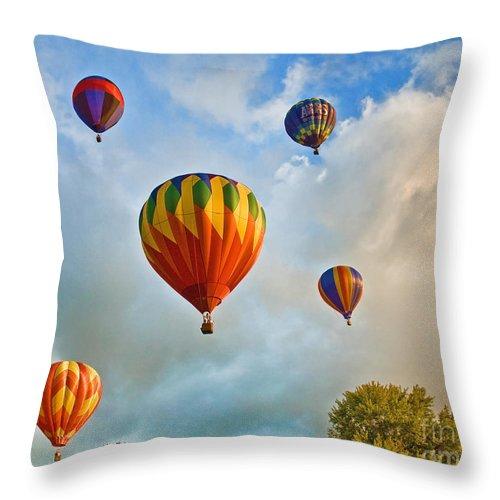Hot Air Balloon Throw Pillow featuring the photograph Plainville Balloons 2 by Edward Sobuta