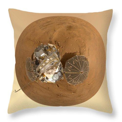 Mars Throw Pillow featuring the photograph Planet Mars Via Phoenix Mars Lander by Nikki Marie Smith