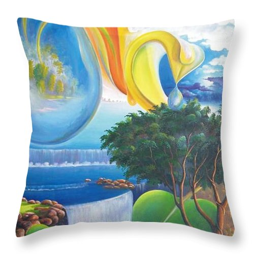 Surrealism - Landscape Throw Pillow featuring the painting Planet Water - Leomariano by Leomariano artist BRASIL