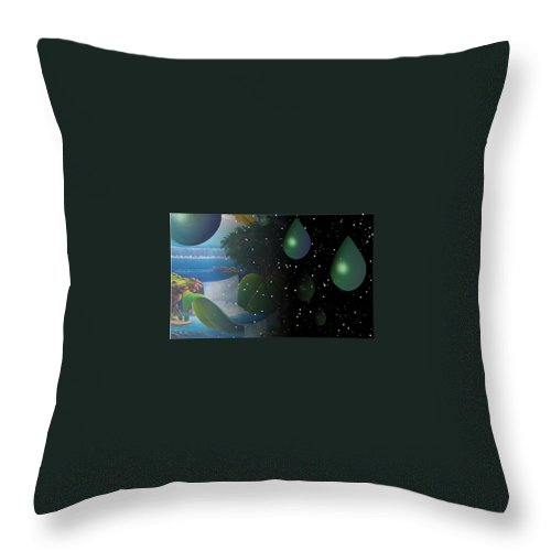 Suarrealism Throw Pillow featuring the painting Planet Water by Leomariano artist BRASIL