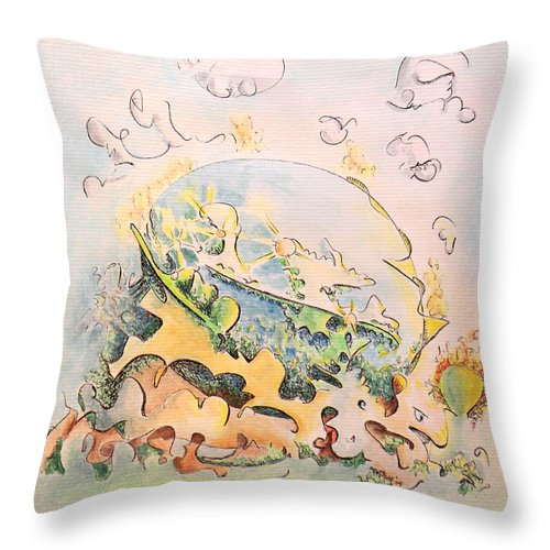Planet Throw Pillow featuring the painting Planetary Chariot by Dave Martsolf