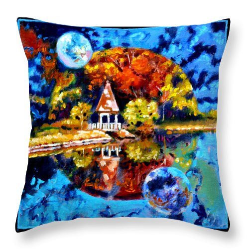 Planets Throw Pillow featuring the painting Planets Image Four by John Lautermilch
