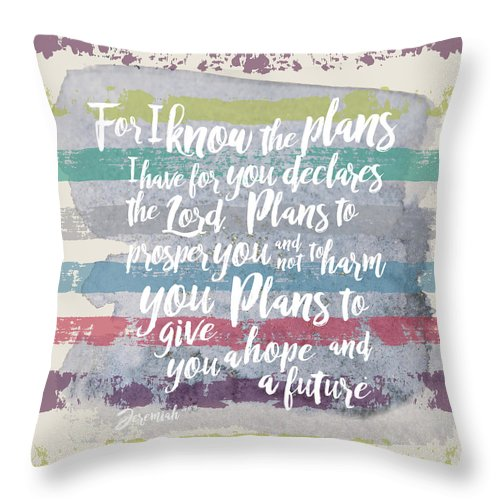 Jeremiah 29:11 Throw Pillow featuring the digital art Plans I have For You Stripes by Claire Tingen