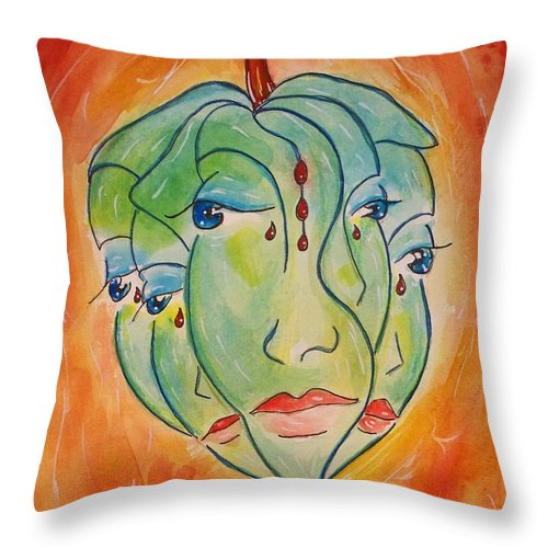 Surrealism Throw Pillow featuring the painting Plant Life by Robin Monroe