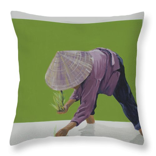Asian Woman Planting Rice. Throw Pillow featuring the painting Planting Season by Marston A Jaquis