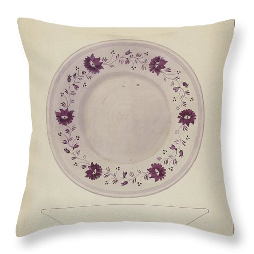Throw Pillow featuring the drawing Plate by J. Howard Iams