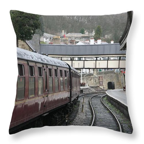 Trains Throw Pillow featuring the photograph Platform 2 by Christopher Rowlands