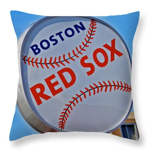 Red Sox Throw Pillow featuring the photograph Play Ball by Donna Shahan